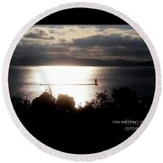 Image Included In Queen The Novel - Lighthouse Contrast Round Beach Towel