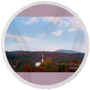 Image Included In Queen The Novel - New England Church Enhanced Round Beach Towel