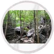 Image Included In Queen The Novel - Rocks At Smugglers Notch Round Beach Towel