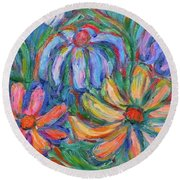 Imaginary Flowers Round Beach Towel