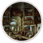 Imaginary Gallery Of Views Of Ancient Rome Round Beach Towel