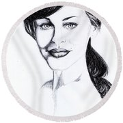 Imaginative Portrait Drawing  Round Beach Towel