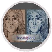 Imagine Again Round Beach Towel