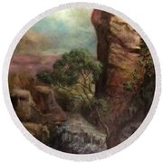Imagined Landscape Round Beach Towel