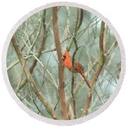 Img_1273-003 - Northern Cardinal Round Beach Towel