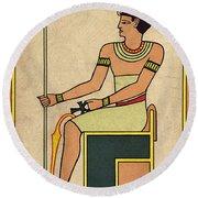 Imhotep, Egyptian Polymath Round Beach Towel
