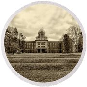 Immaculata University In Black And White Round Beach Towel