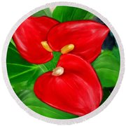 Immeasurable Beauty- Anthurium Paintings Round Beach Towel