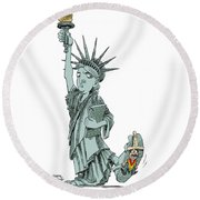 Immigration And Liberty Round Beach Towel