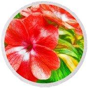 Impatiens Flower Round Beach Towel