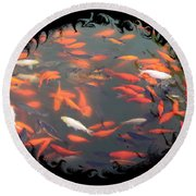 Imperial Koi Pond With Black Swirling Frame Round Beach Towel
