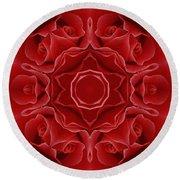 Imperial Red Rose Mandala Round Beach Towel