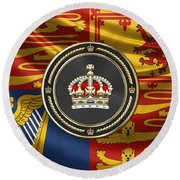 Imperial Tudor Crown Over Royal Standard Of The United Kingdom Round Beach Towel