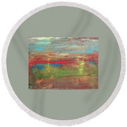 Impression Collection I Mountain Sunset Round Beach Towel