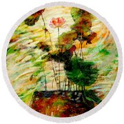 Impression In Lotus Tree Round Beach Towel
