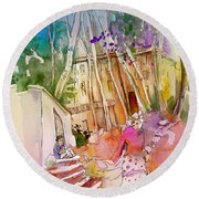 Impression Of Capileira 01 Round Beach Towel
