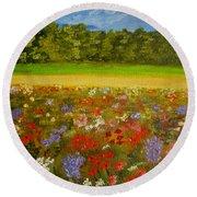 Impressionism Flowers- Pretty Posies Round Beach Towel