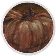 Impressionist Autumn Pumpkin Round Beach Towel