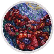 Impressionist Field Poppies Round Beach Towel