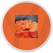 Impressionist Painting Of An Orange Mum Round Beach Towel