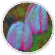 Impressionist Pink Tulips Round Beach Towel