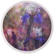 Impressionist Purple And White Irises 6647 Idp_2 Round Beach Towel