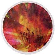Impressionist Vibrant Daylily 1208 Idp_2 Round Beach Towel