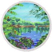 Impressionistic Landscape Xx Round Beach Towel