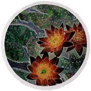 Impressionistic Lilies Round Beach Towel