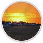 Impressionistic Sunset Round Beach Towel