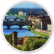 Impressions Of Florence - Long Blue Shadows On The Arno River Round Beach Towel