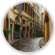 Impressions Of Florence - Walking On The Silver Street In The Rain Round Beach Towel