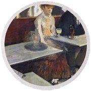 In A Cafe Round Beach Towel by Edgar Degas