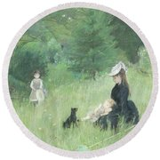 In A Park Round Beach Towel by Berthe Morisot