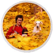 In A Yellow Wood - Paint Round Beach Towel