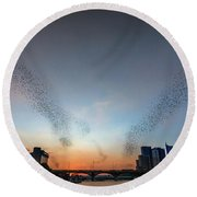In Austin Streams Of Mexican Freetailed Bats The Worlds Largest Urban Bat Colony Take To The Skies During Sunset Round Beach Towel
