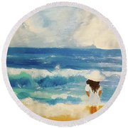 In Awe Of The Ocean Round Beach Towel