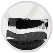 In Between Stage- Abstract Art By Linda Woods Round Beach Towel