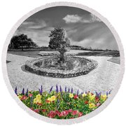 in Black and White Round Beach Towel