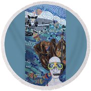 In Dreams Of Ricky Bobbie And Me In Cayman Islands Round Beach Towel