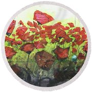 Fields Of Poppies Round Beach Towel