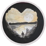 In Love With Meditation  Round Beach Towel