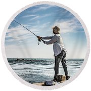 In Meditation Round Beach Towel