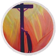 In Our Sufferings We Can Lean On The Cross By Trusting In Christ's Love Round Beach Towel