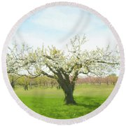 In Spring's Embrace Round Beach Towel