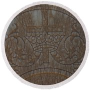 In Stone Cross And Crown Virginia City Nv Round Beach Towel