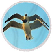 In Tandem At Sunset Round Beach Towel