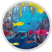 In The Cave Round Beach Towel
