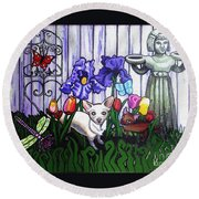 In The Chihuahua Garden Of Good And Evil Round Beach Towel