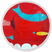 In The Clouds Part 2 Round Beach Towel